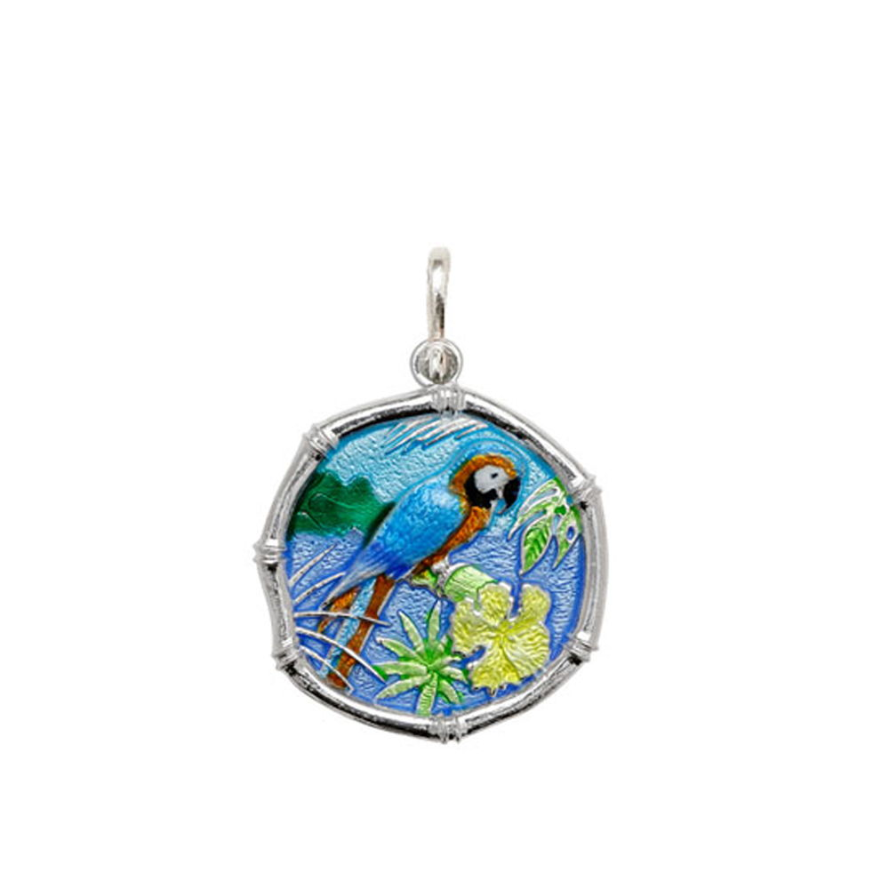 Guy Harvey Medium size Full Color enameled Sterling Silver Macaw Medallion