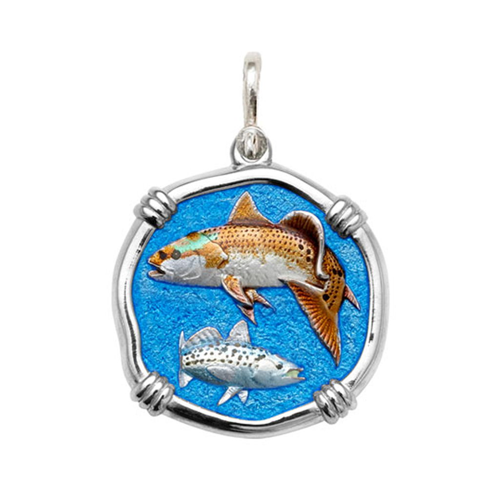 Guy Harvey Large size Full Color enameled Sterling Silver Redfish & Trout Medallion