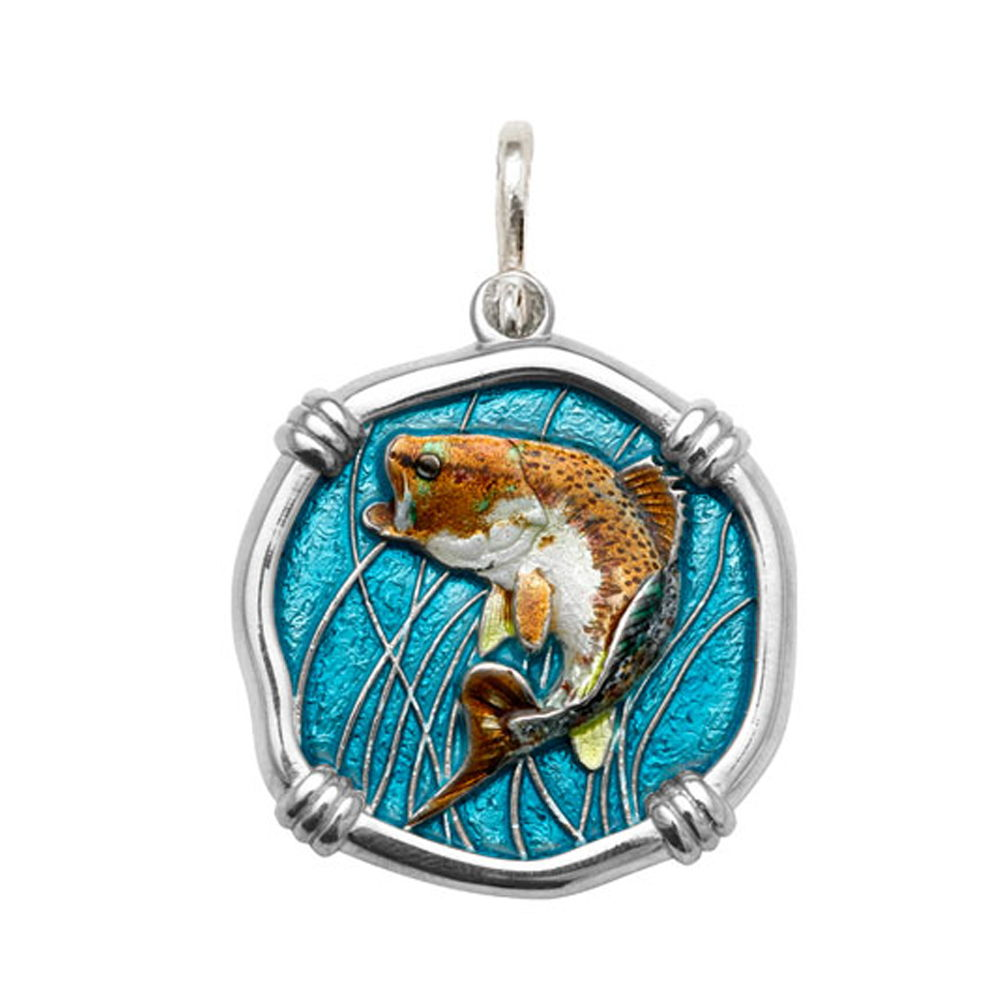 Guy Harvey Large size Full Color enameled Sterling Silver Bass Medallion