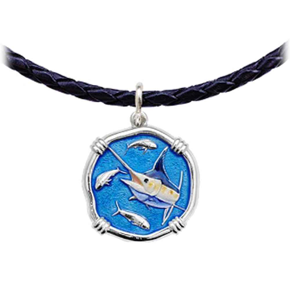 Guy Harvey Marlin Leather Necklace Full Color Enamel Bright Finish 25mm Sterling Silver