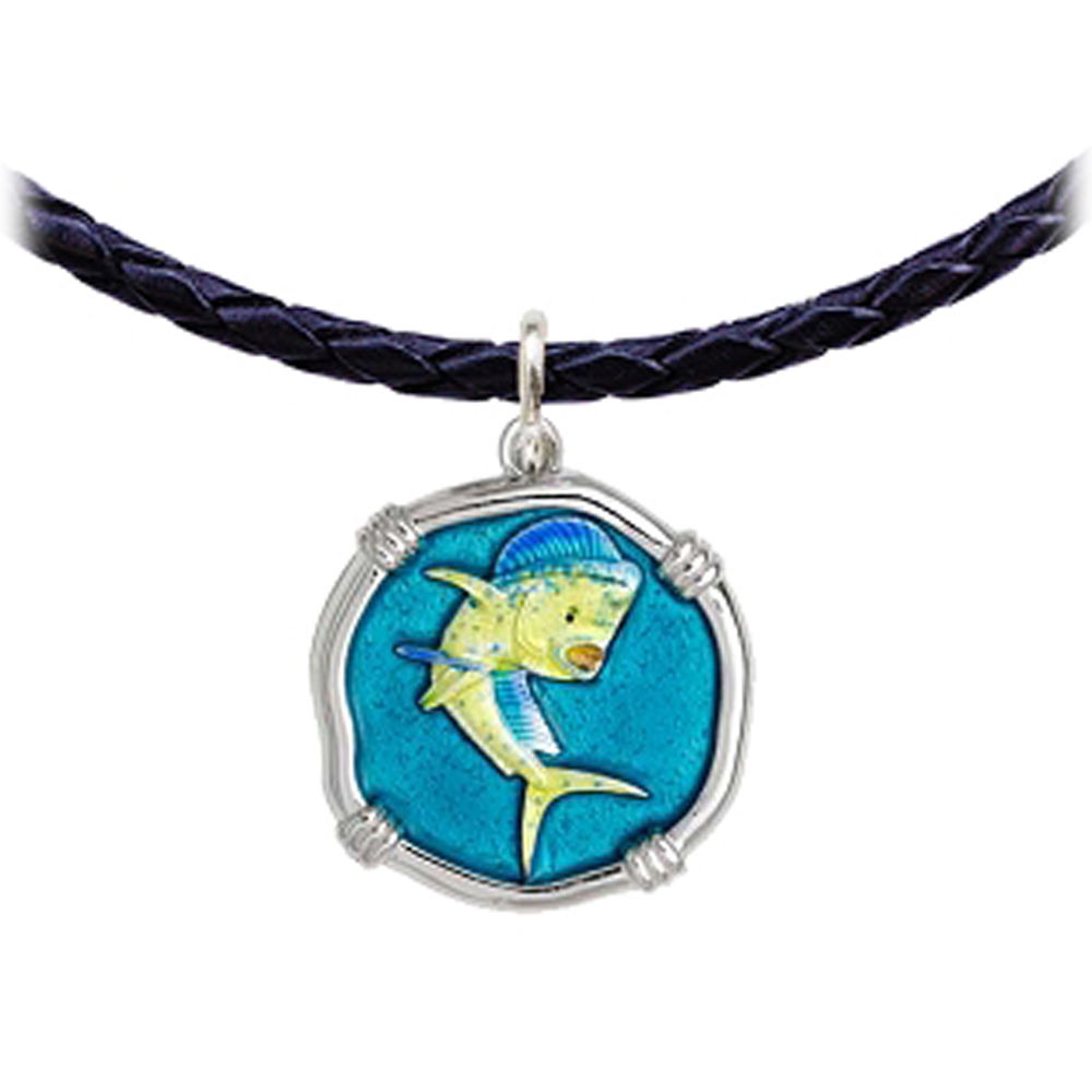 Guy Harvey Dolphin Leather Necklace Full Color Enamel Bright Finish 25mm Sterling Silver