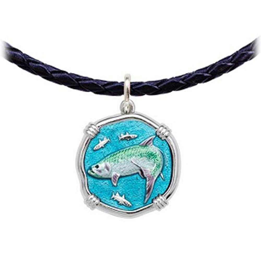 Guy Harvey Tarpon Leather Necklace Full Color Enamel Bright Finish 25mm Sterling Silver