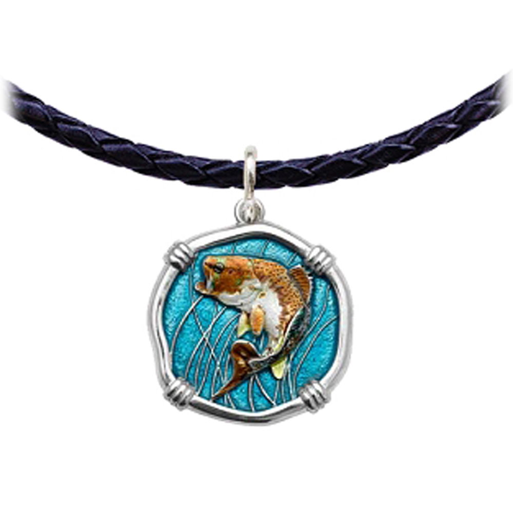 Guy Harvey Bass Leather Necklace Full Color Enamel Bright Finish 25mm Sterling Silver