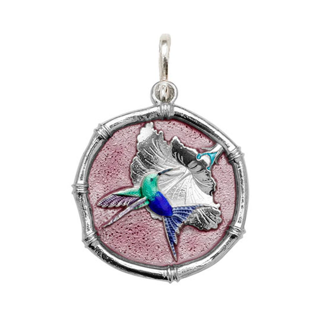 Guy Harvey Large size Full Color Pink enameled Sterling Silver Hummingbird Medallion
