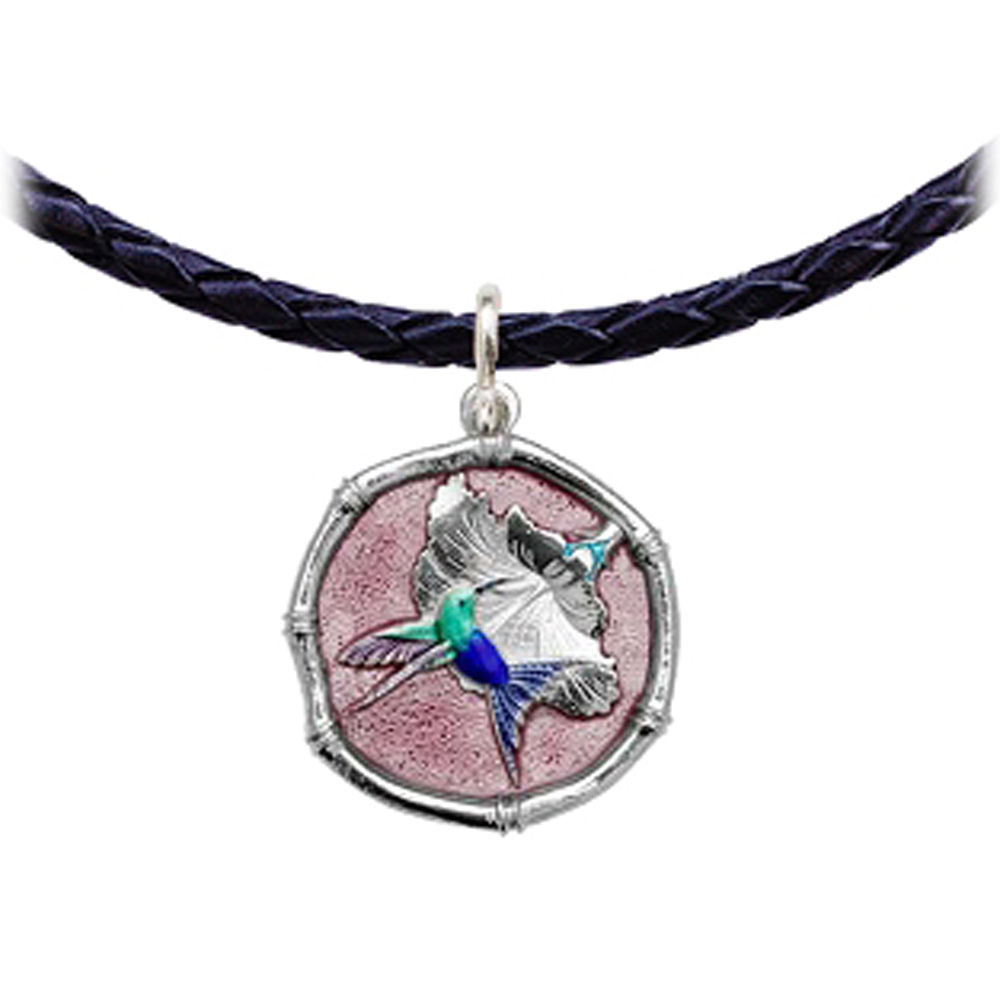 Guy Harvey Hummingbird Sterling Silver Leather Necklace Full Color Pink Enamel