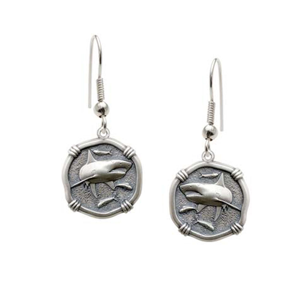Guy Harvey Shark Wire Dangle Earrings Relic Finish 15mm Sterling Silver