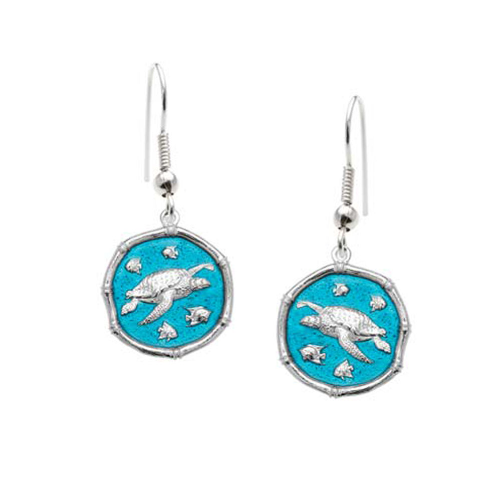 Guy Harvey Sea Turtle Dangle Earrings Cayman Green Enamel Bright Finish 15mm Sterling Silver