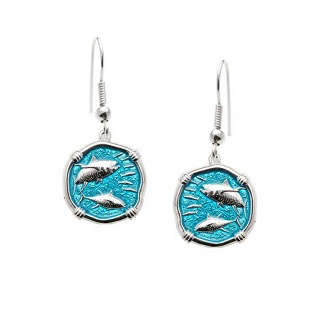 Guy Harvey Tuna Wire Dangle Earrings Cayman Green Enamel Bright Finish 15mm Sterling Silver