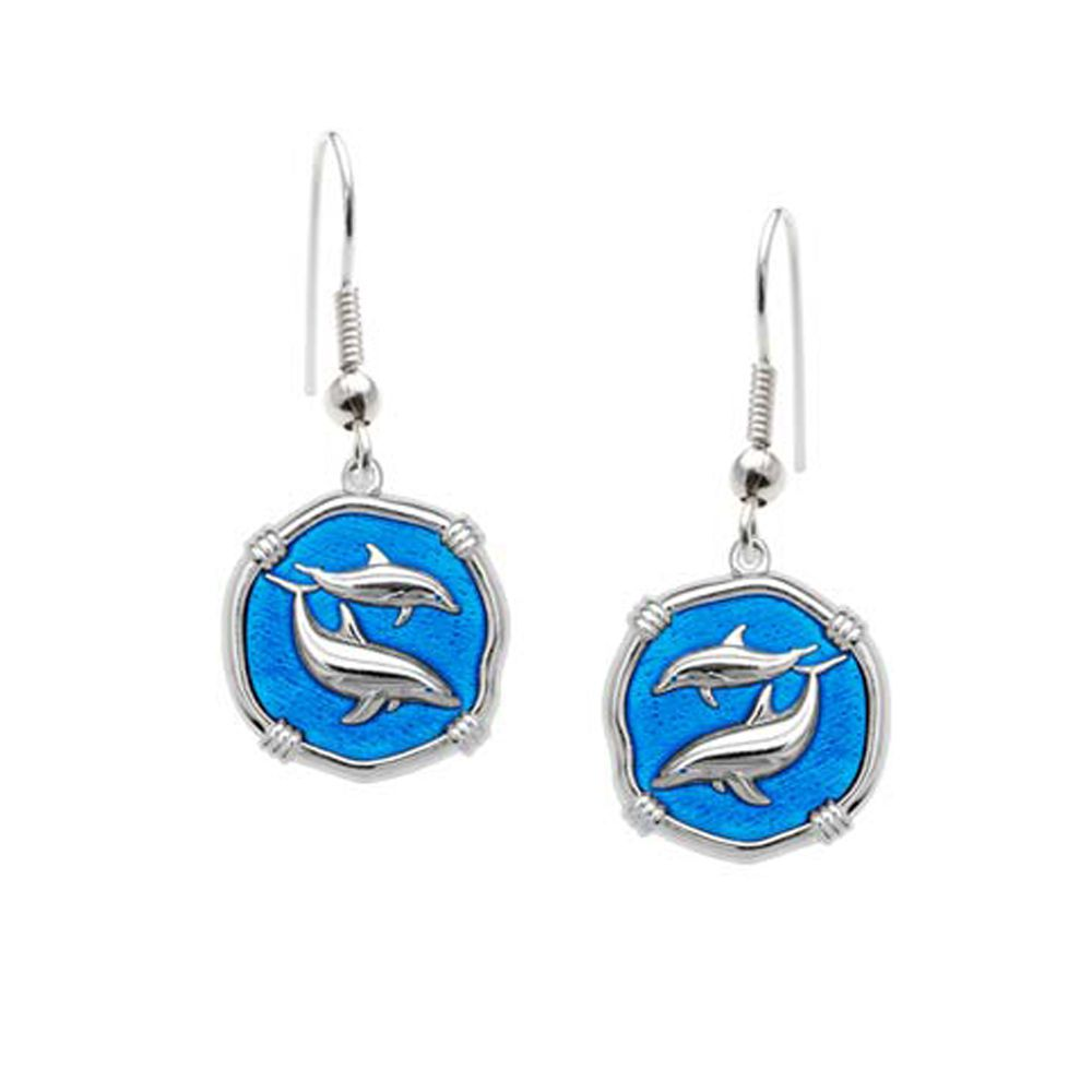 Guy Harvey Porpoises Dangle Earrings Caribbean Blue Enamel Bright Finish 15mm Sterling Silver