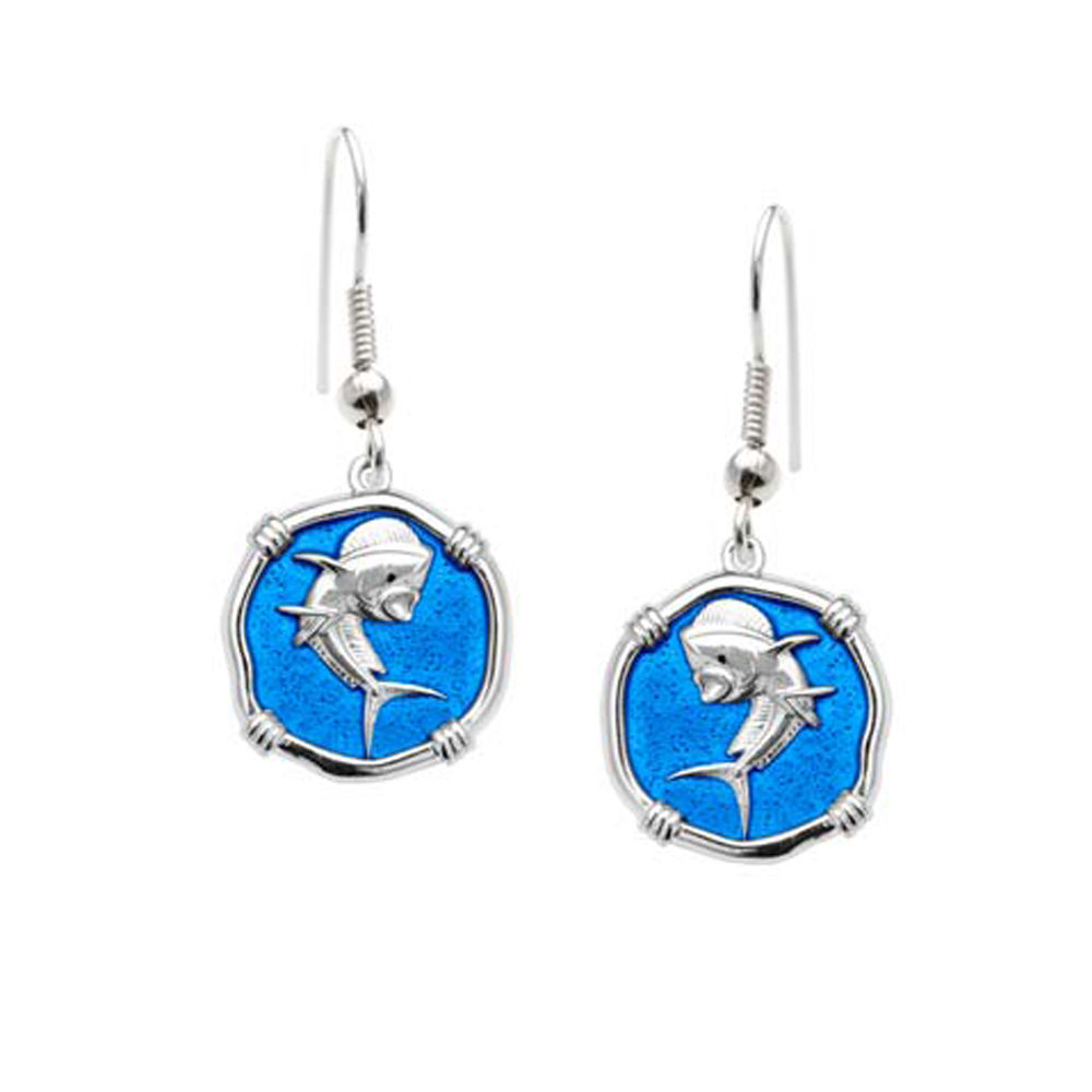 Guy Harvey Dolphin Dangle Earrings Caribbean Blue Enamel Bright Finish 15mm Sterling Silver