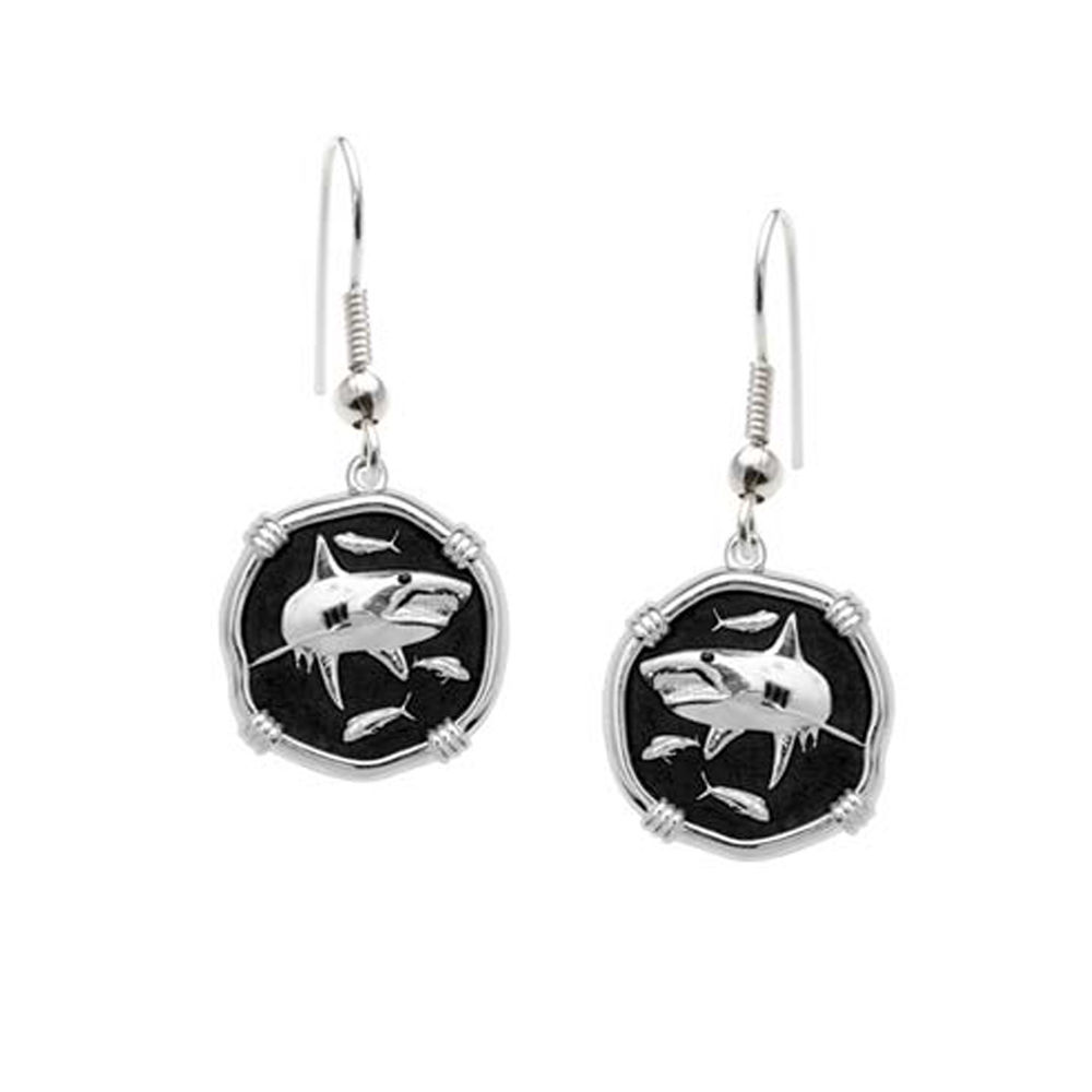 Guy Harvey Shark Dangle Earrings Black Enamel Bright Finish 15mm Sterling Silver