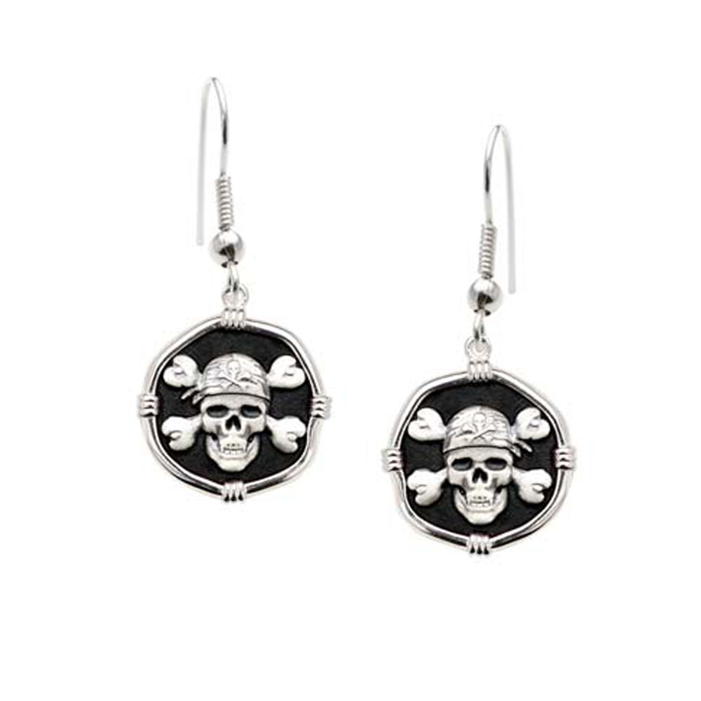Guy Harvey Pirate Dangle Earrings Black Enamel Bright Finish 15mm Sterling Silver