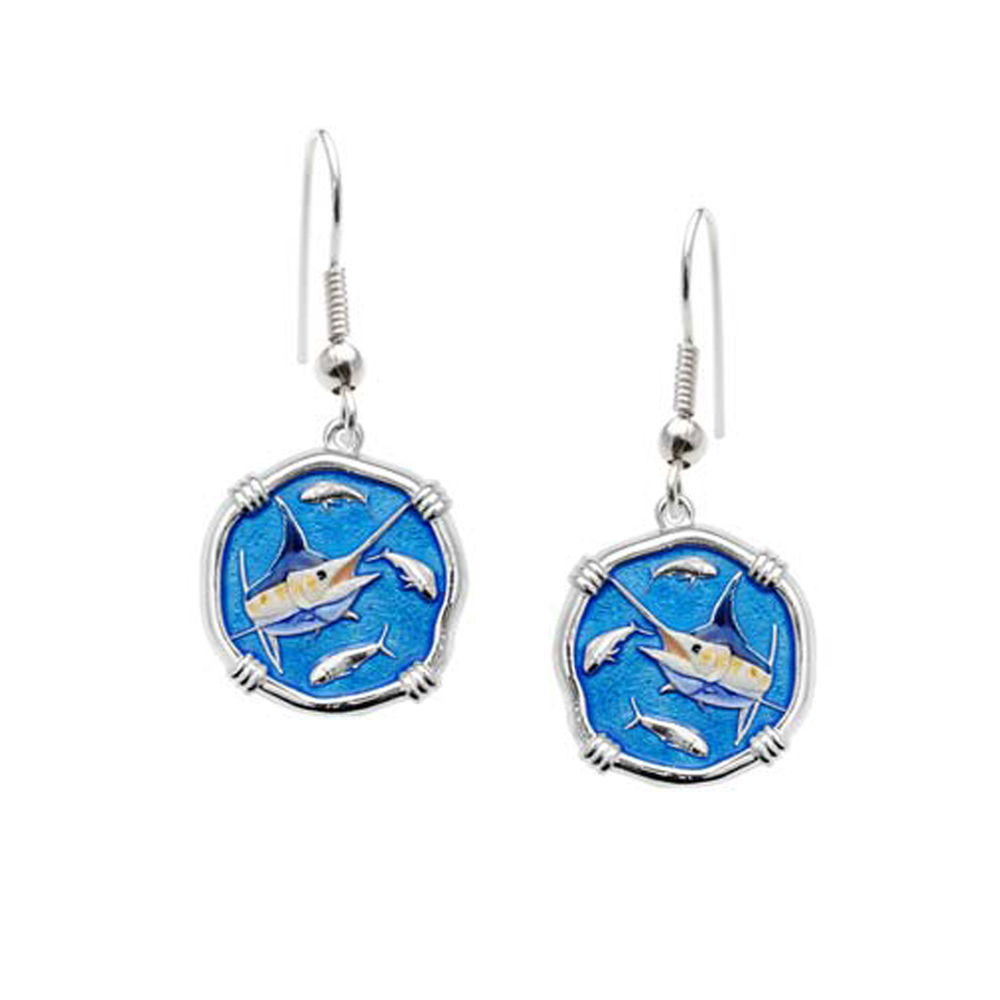 Guy Harvey Marlin Dangle Earrings Full Color Enamel Bright Finish 15mm Sterling Silver