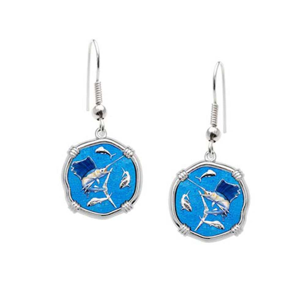 Guy Harvey Sailfish Dangle Earrings Full Color Enamel Bright Finish 15mm Sterling Silver