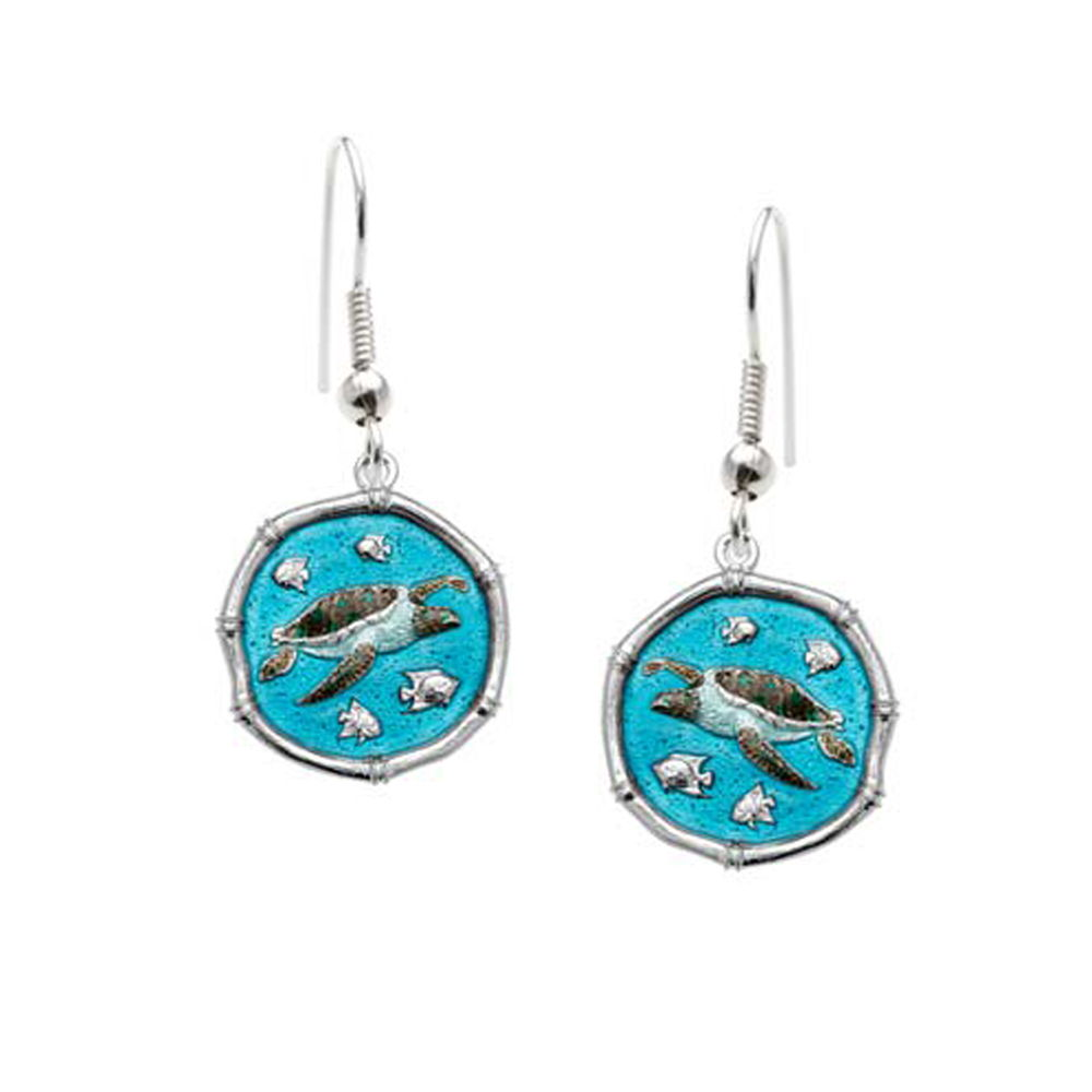 Guy Harvey Sea Turtle Dangle Earrings Full Color Enamel Bright Finish 15mm Sterling Silver