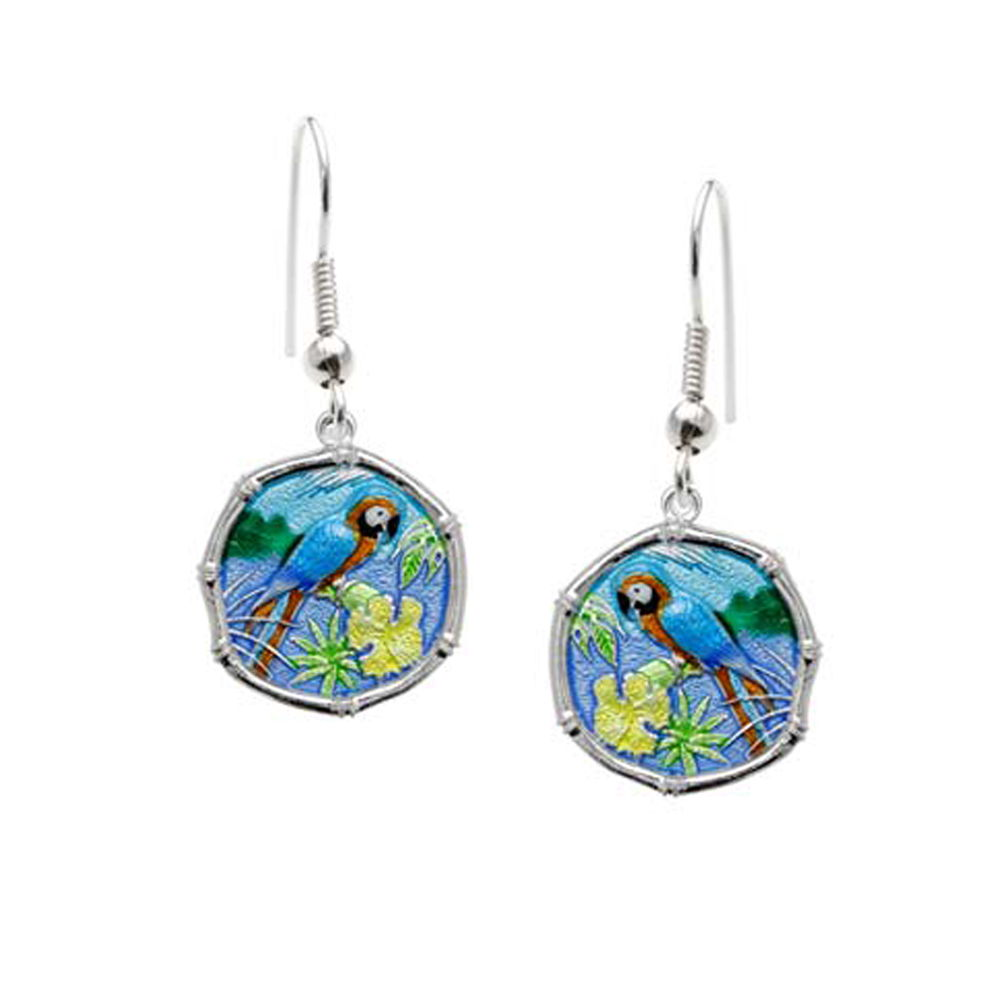 Guy Harvey Macaw Wire Dangle Earrings Full Color Enamel Bright Finish 15mm Sterling Silver