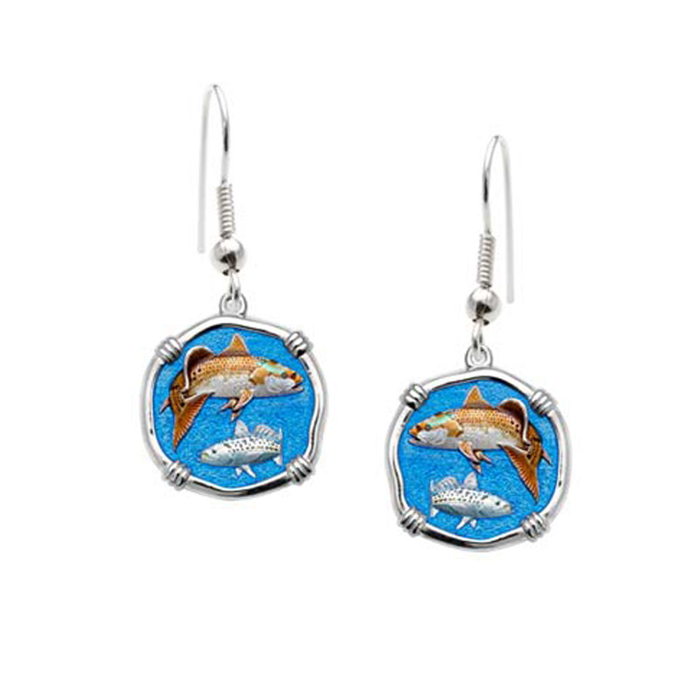Guy Harvey Redfish & Trout Wire Dangle Earrings Full Color Enamel Bright Finish 15mm Sterling Silver
