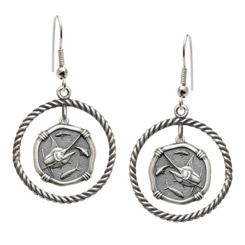 Guy Harvey Marlin Rope Circle Earrings Relic Finish 15mm Sterling Silver