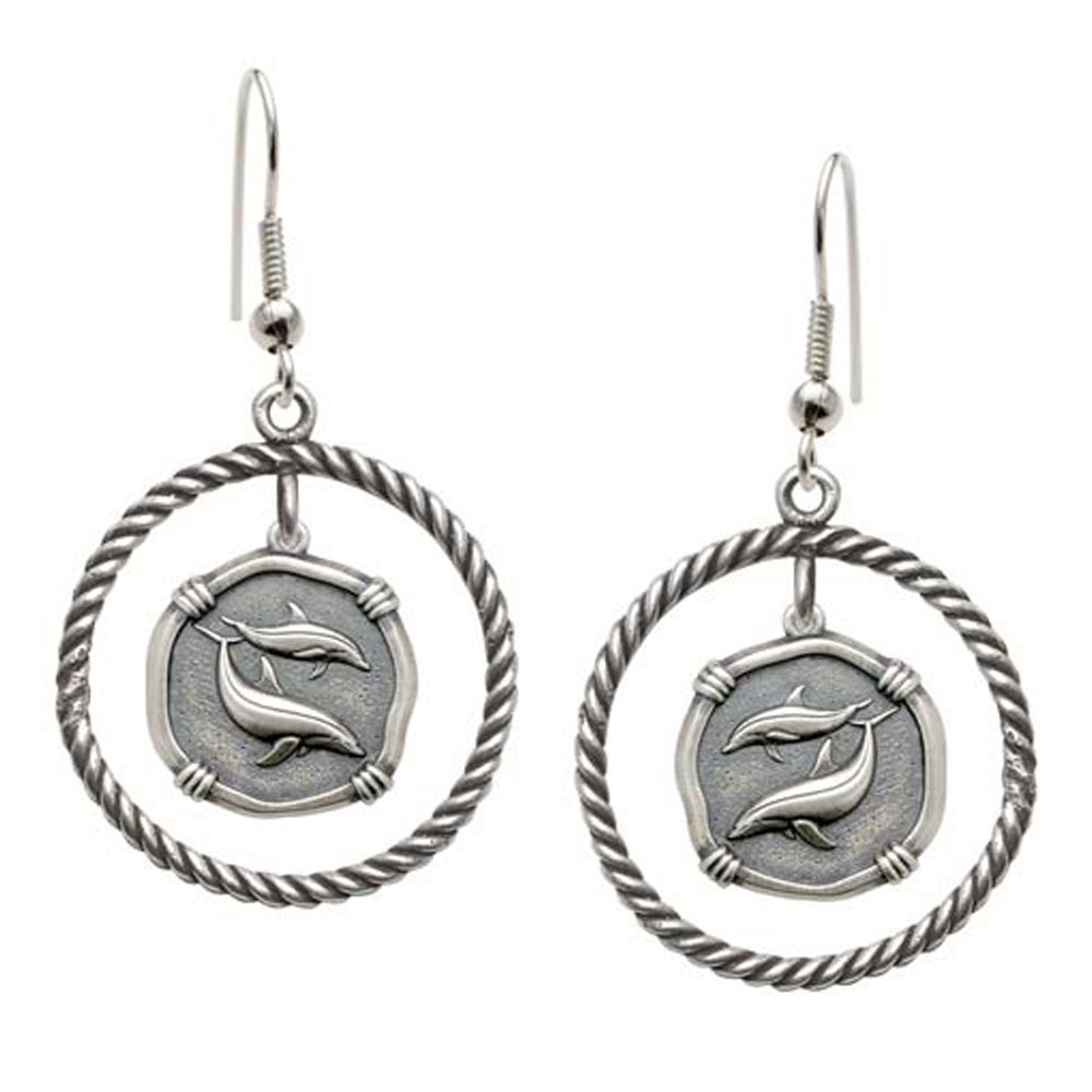 Guy Harvey Porpoises Rope Circle Earrings Relic Finish 15mm Sterling Silver