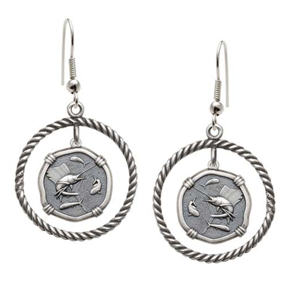 Guy Harvey Sailfish Rope Circle Earrings Relic Finish 15mm Sterling Silver