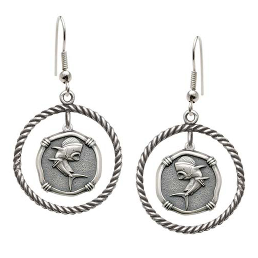 Guy Harvey Dolphin Rope Circle Earrings Relic Finish 15mm Sterling Silver