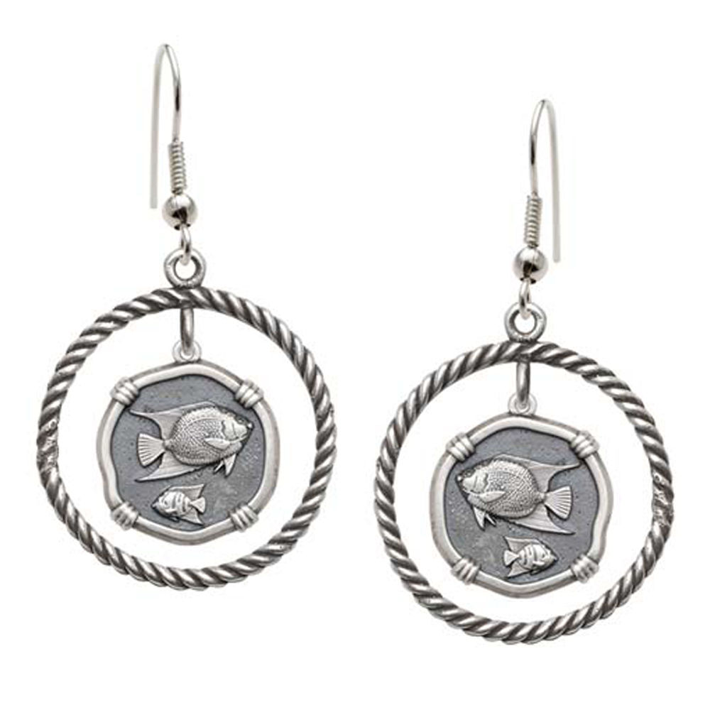 Guy Harvey Angelfish Rope Circle Earrings Relic Finish 15mm Sterling Silver
