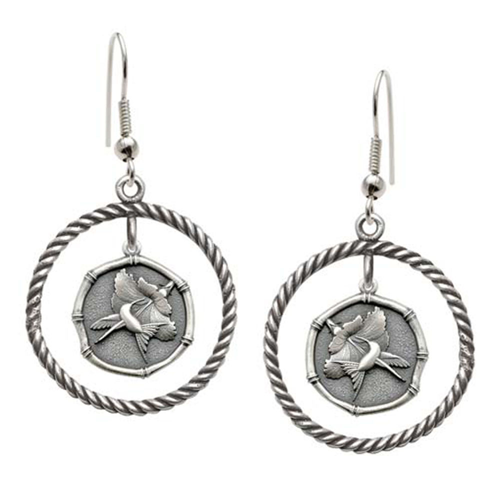 Guy Harvey Hummingbird Sterling Silver Rope Circle Earrings Relic Finish 15mm Sterling Silver