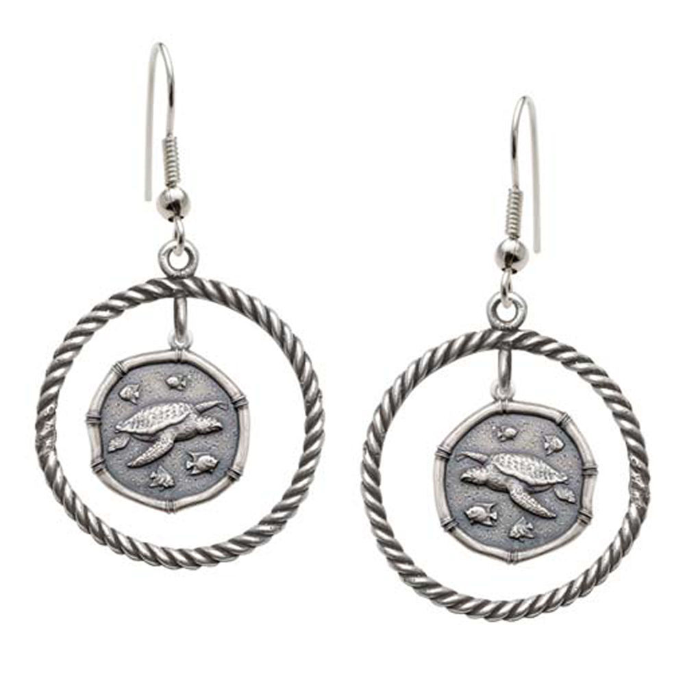 Guy Harvey Sea Turtle Rope Circle Earrings Relic Finish 15mm Sterling Silver