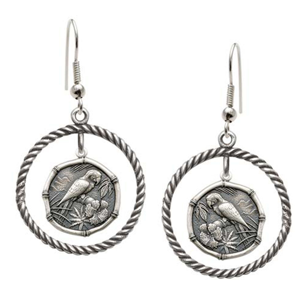 Guy Harvey Macaw Rope Circle Earrings Relic Finish 15mm Sterling Silver