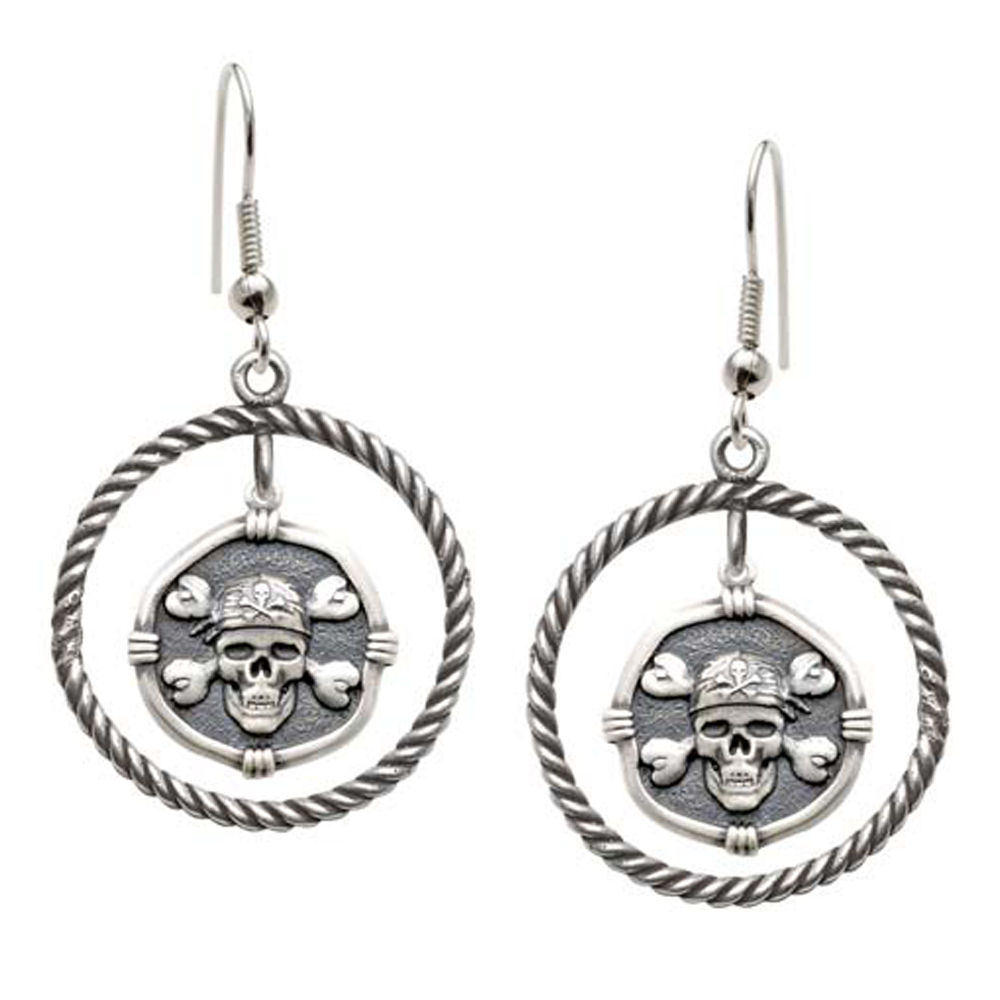 Guy Harvey Pirate Rope Circle Earrings Relic Finish 15mm Sterling Silver