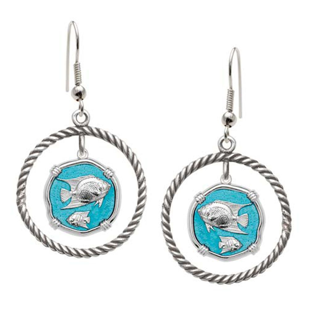 Guy Harvey Angelfish Rope Circle Earrings Cayman Green Enamel Bright Finish 15mm Sterling Silver