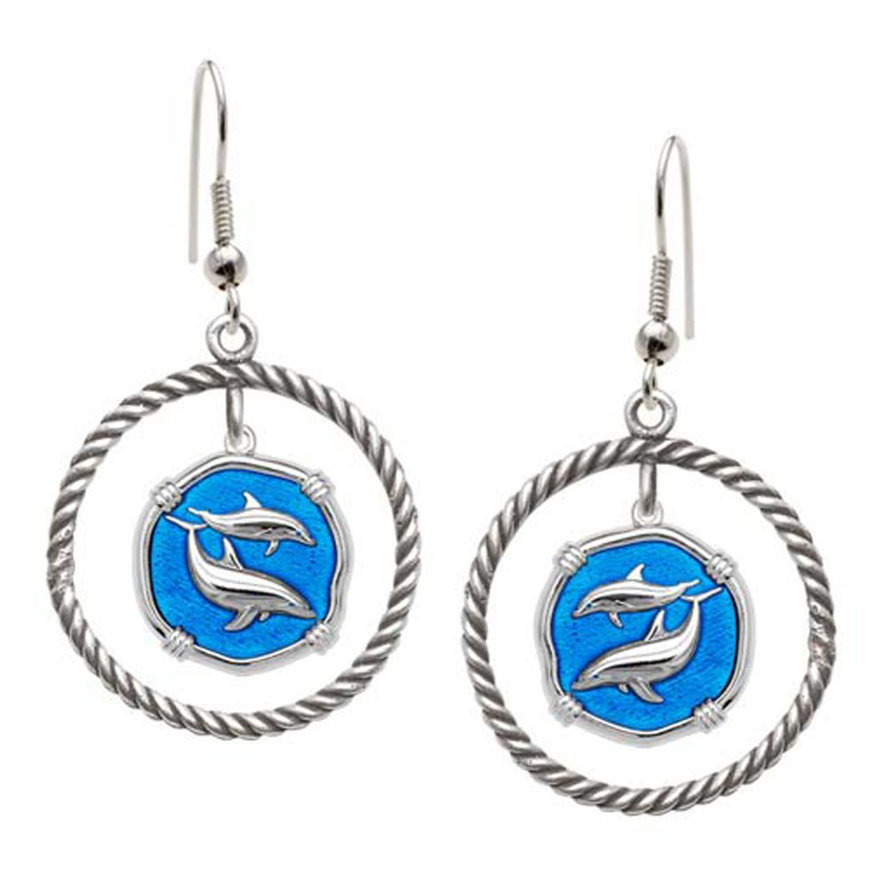 Guy Harvey Porpoises Rope Circle Earrings Caribbean Blue Enamel Bright Finish 15mm Sterling Silver
