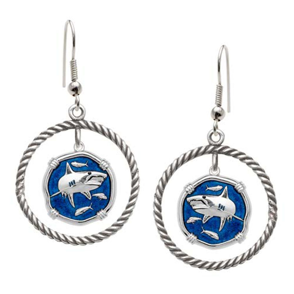 Guy Harvey Shark Rope Circle Earrings Gulf Stream Blue Enamel Bright Finish 15mm Sterling Silver