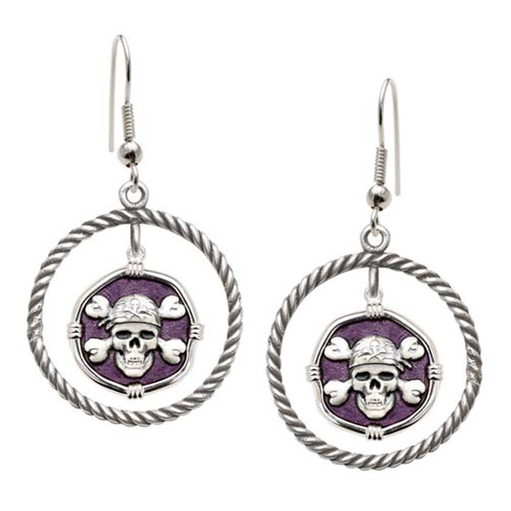Guy Harvey Pirate Rope Circle Earrings Purple Enamel Bright Finish 15mm Sterling Silver