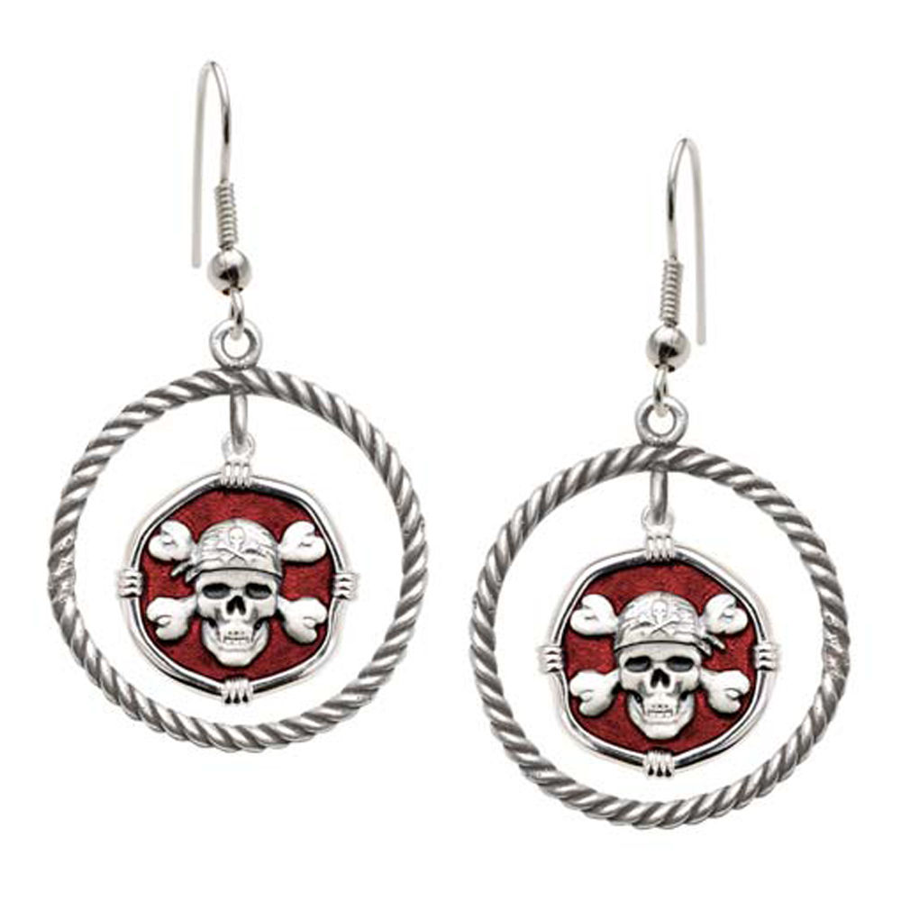 Guy Harvey Pirate Rope Circle Earrings Red Enamel Bright Finish 15mm Sterling Silver