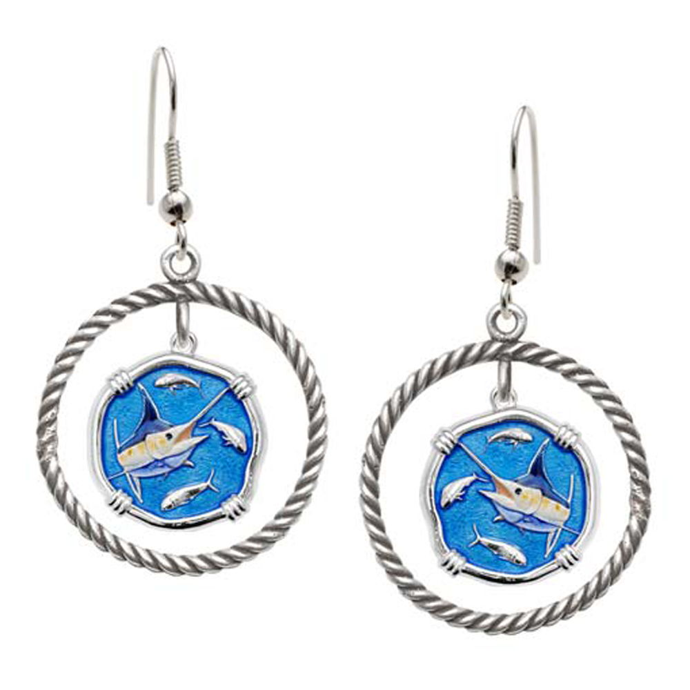 Guy Harvey Marlin Rope Circle Earrings Full Color Enamel Bright Finish 15mm Sterling Silver