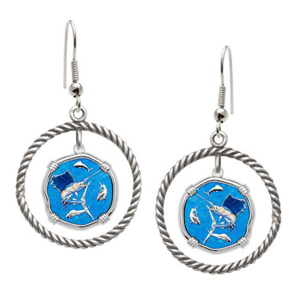 Guy Harvey Sailfish Rope Circle Earrings Full Color Enamel Bright Finish 15mm Sterling Silver