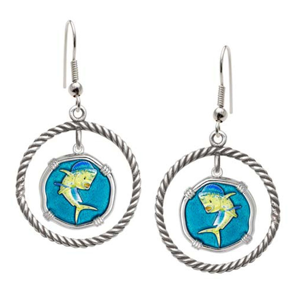 Guy Harvey Dolphin Rope Circle Earrings Full Color Enamel Bright Finish 15mm Sterling Silver