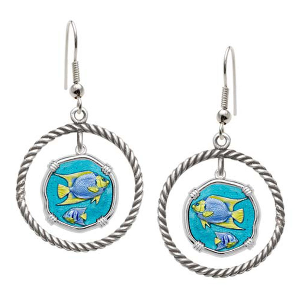 Guy Harvey Angelfish Rope Circle Earrings Full Color Enamel Bright Finish 15mm Sterling Silver