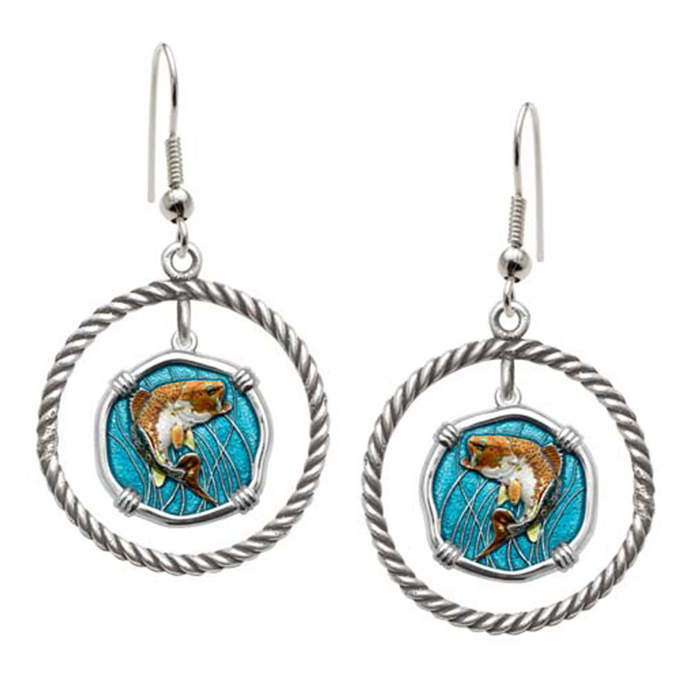 Guy Harvey Bass Rope Circle Earrings Full Color Enamel Bright Finish 15mm Sterling Silver