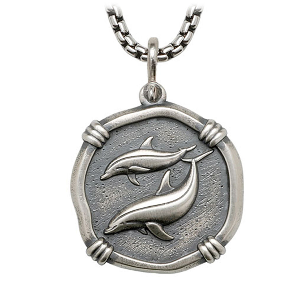 Porpoises on Box Necklace Relic Finish 35mm Sterling Silver