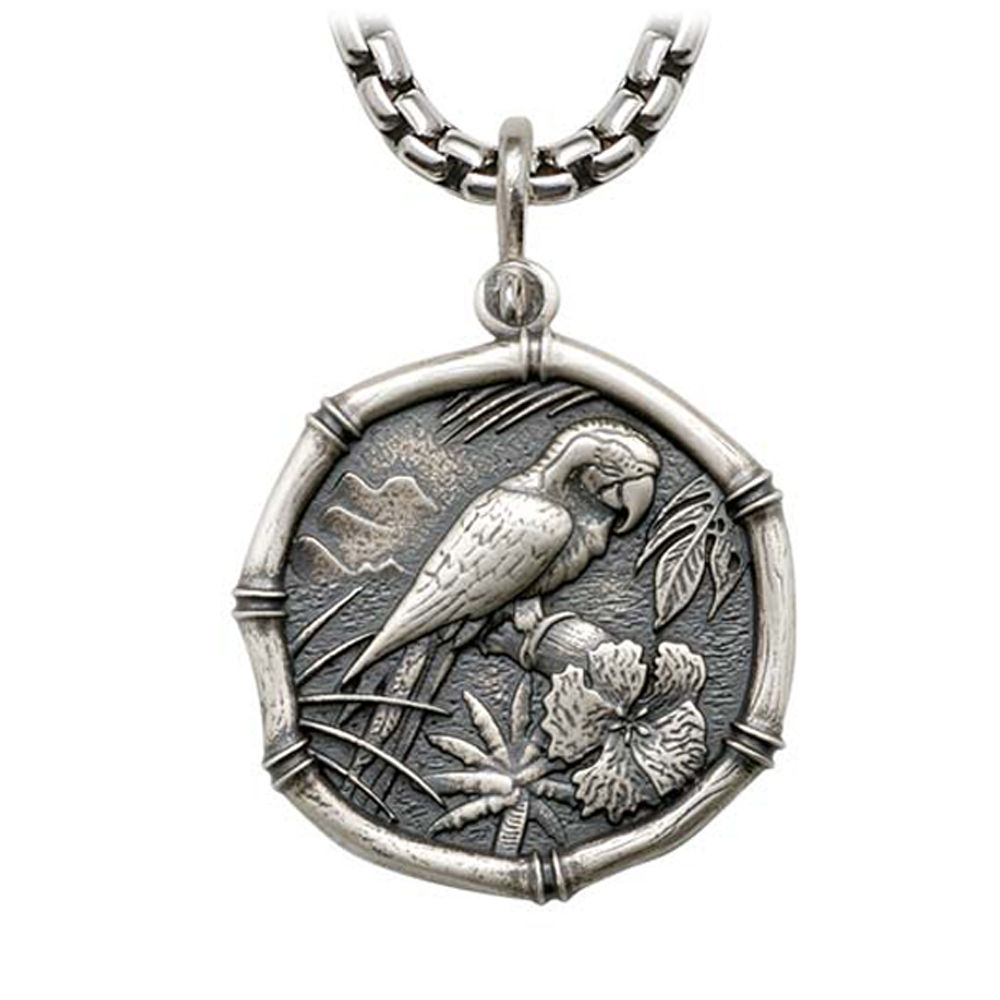 Macaw on Heavy Box Necklace Relic Finish 35mm Sterling Silver
