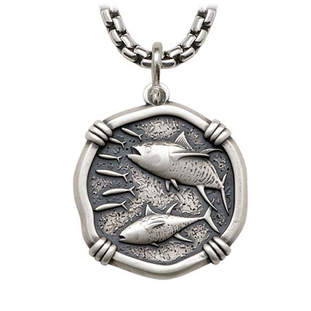 Tuna on Heavy Box Necklace Relic Finish 35mm Sterling Silver