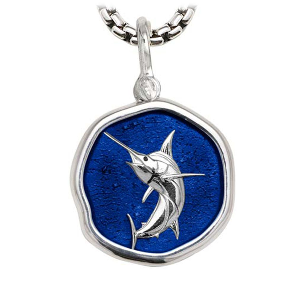 Marlin on Heavy Box Necklace Gulf Stream Blue Enamel Bright Finish 35mm Sterling Silver