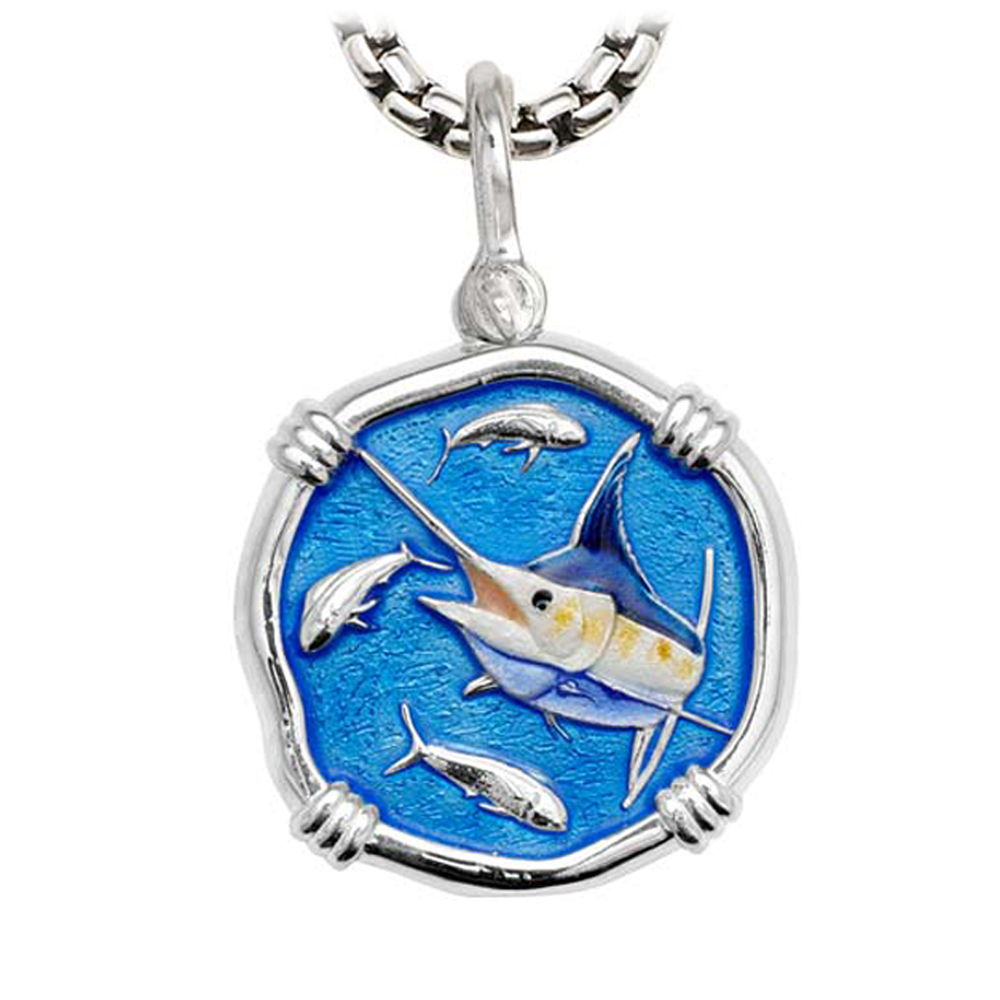Marlin on Heavy Box Necklace Full Color Enamel Bright Finish 35mm Sterling Silver
