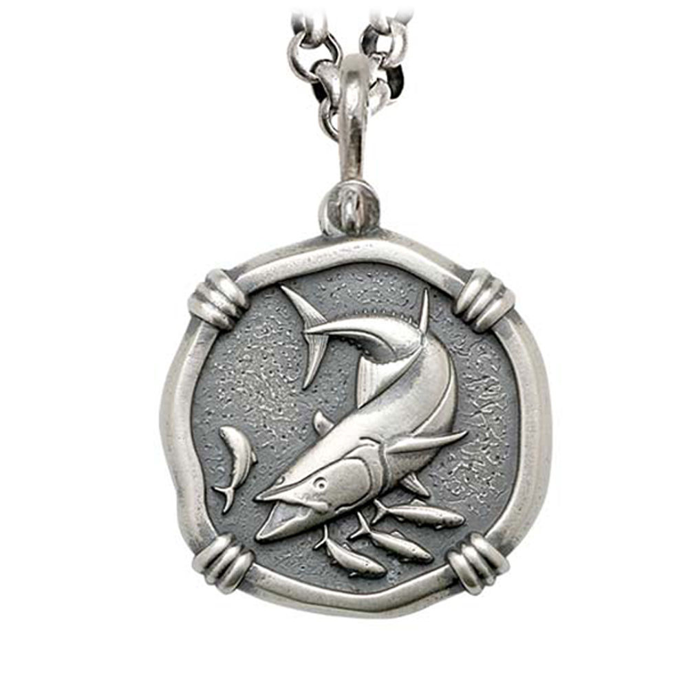 King Mackerel on Rolo Necklace Relic Finish 35mm Sterling Silver