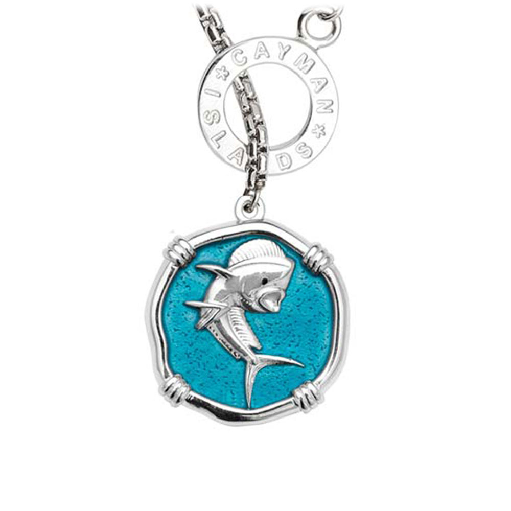 Guy Harvey Dolphin on Lariat Style Box Necklace Cayman Green Enamel 25mm Sterling Silver