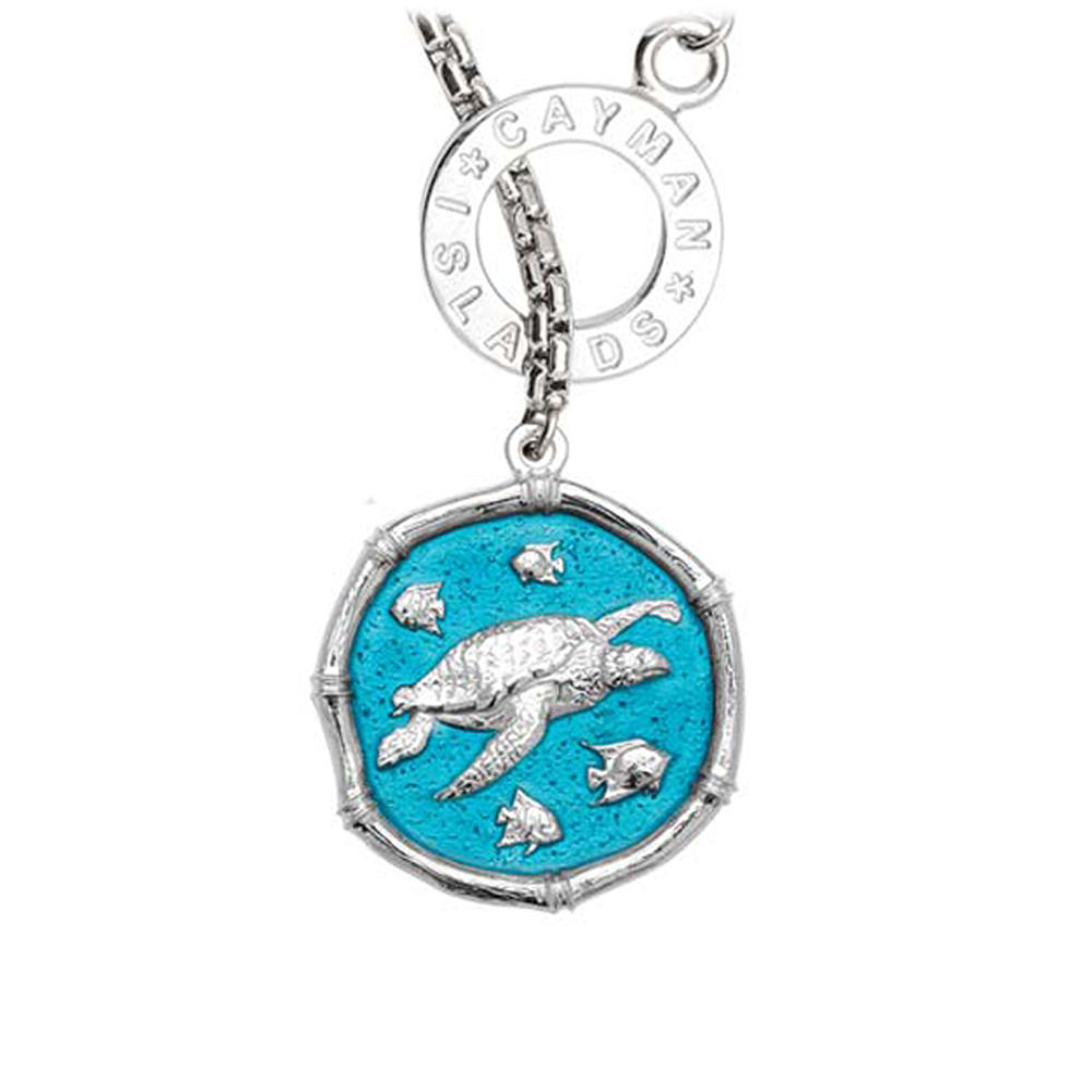 Guy Harvey Sea Turtle on Lariat Style Box Necklace Cayman Green Enamel 25mm Sterling Silver