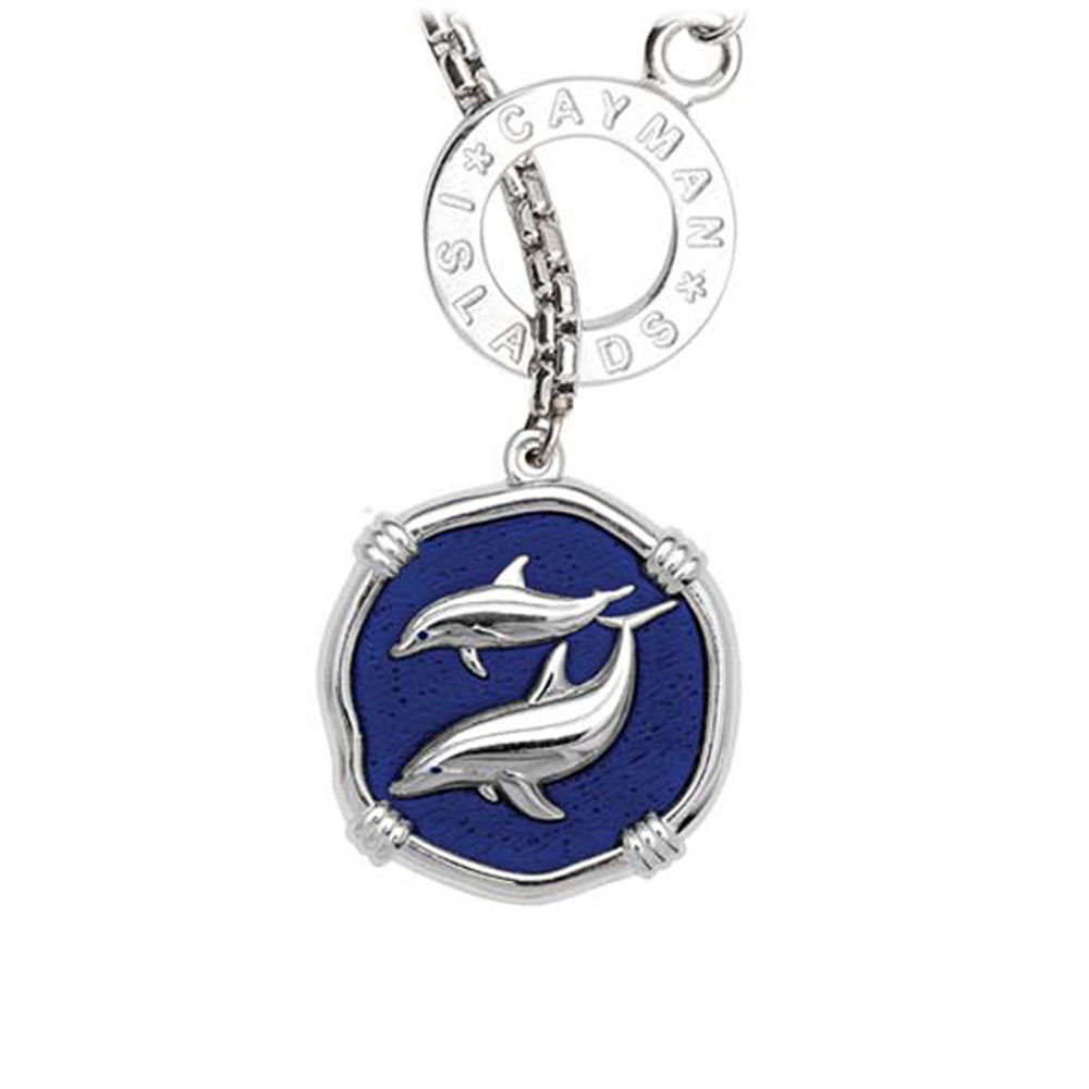 Guy Harvey Porpoises on Lariat Style Box Necklace Gulf Stream Blue Enamel 25mm Sterling Silver