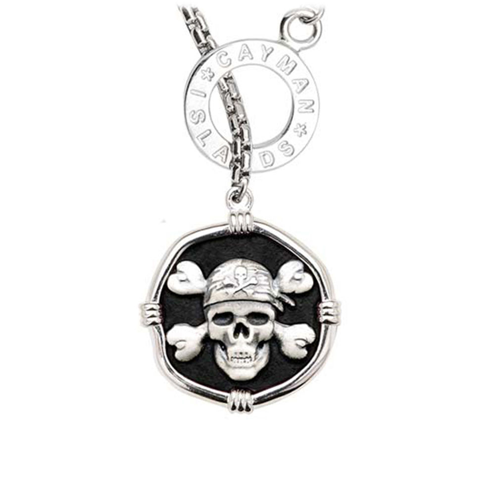 Guy Harvey Pirate on Lariat Style Box Necklace Black Enamel Bright Finish 25mm Sterling Silver